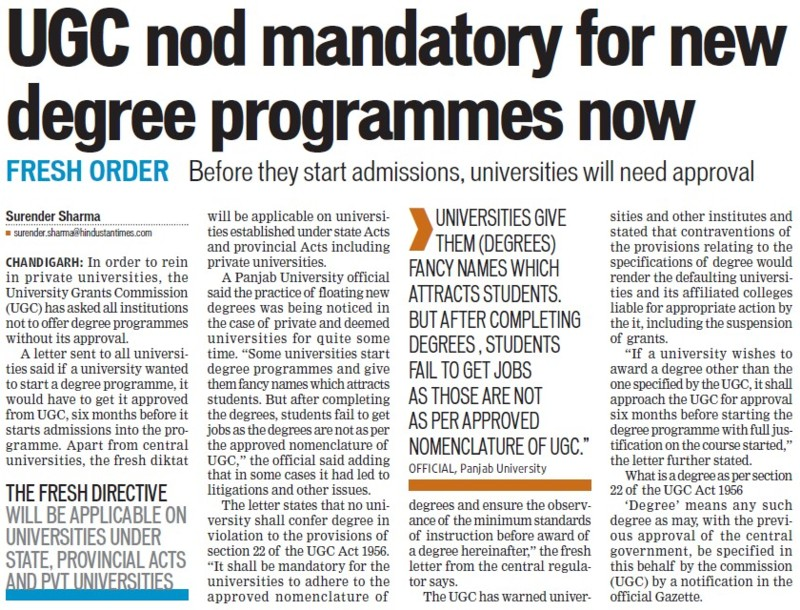 UGC nod mandatory for new degree programmes (University Grants Commission (UGC))