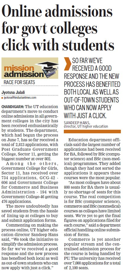 Online admissions for govt colleges click with students (Education Department Chandigarh Administration)