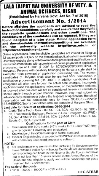 Clerk required (Lala Lajpat Rai University of Veterinary and Animal Sciences)