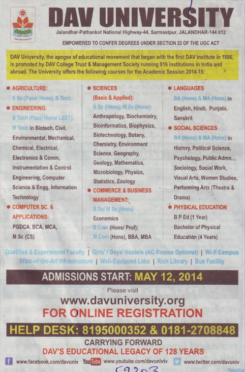 BSc, MSc and M Com (DAV University)