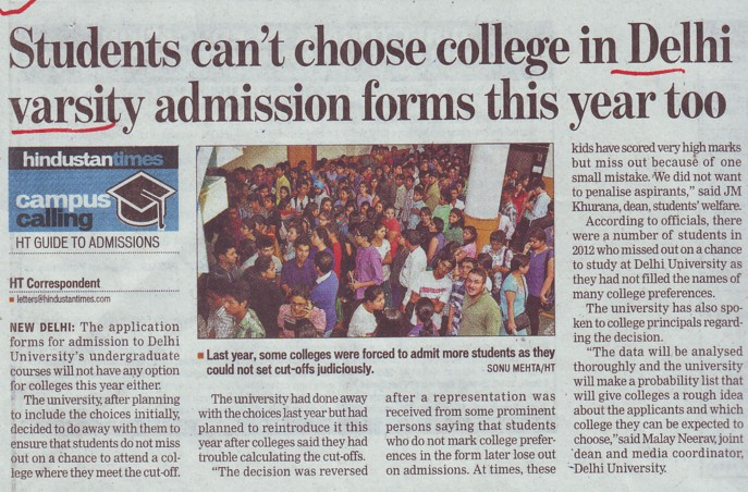 Students cant choose college in DU admission forms this year (Delhi University)