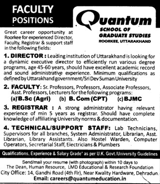Technical staff and Registrar (Quantum School of Technology (QST))