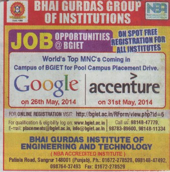 Google and Accenture visit for students placement (Bhai Gurdas Group of Institutions)