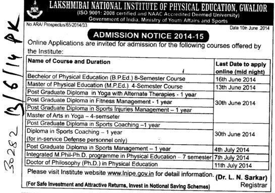 BPEd and MPEd courses (Lakshmibai National University of Physical Education (LNUPE))