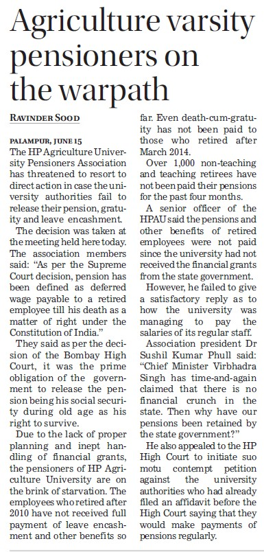 Agriculture varsity pensioners on the warpath (Chaudhary Sarwan Kumar (CSK) Himachal Pradesh Agricultural University)
