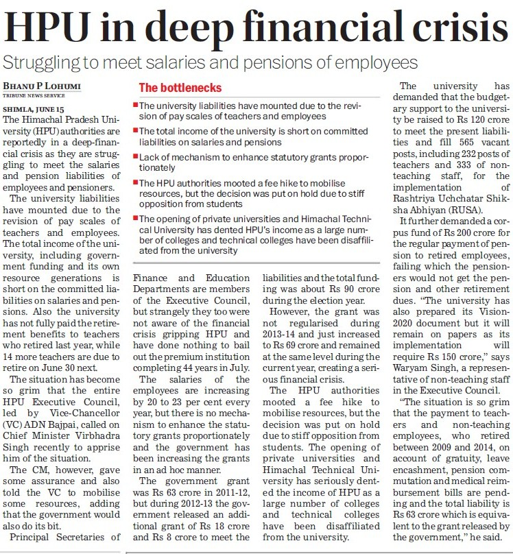 HPU in deep financial crisis (Himachal Pradesh University)