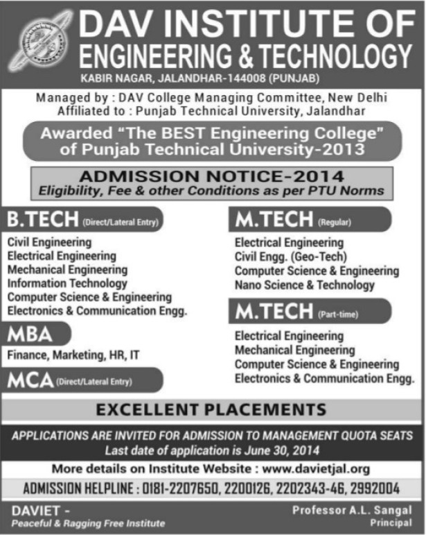 B Tech, MBA and MCA (DAV Institute of Engineering and Technology DAVIET)