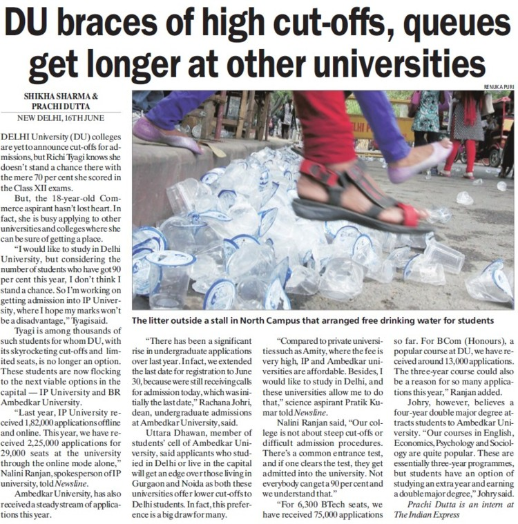 DU braces of high cut offs (Delhi University)