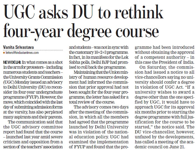 UGC asks DU to drink to rethink four year degree course (Delhi University)