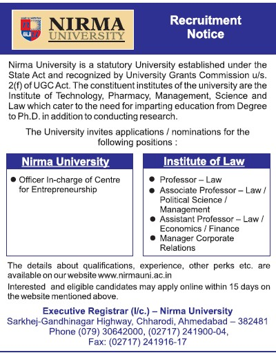 Asstt Professor for Economics (Nirma University)