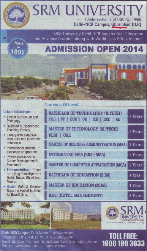 B Tech, BBA and MBA Programme (SRM University Delhi NCR Campus (SRM Institute of Management and Technology (SRMIMT)))