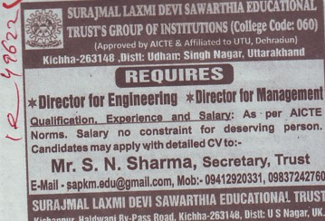 Director for Management (Surajmal Laxmi Devi Sawarthia)
