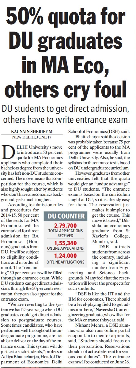 50 percent quota for DU graduates in MA ECo (Delhi University)