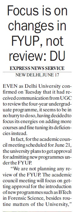 Focus is on changes in FYUP (Delhi University)