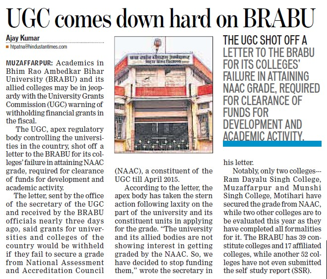 UGC comes down hard on BRABU (Babasaheb Bhimrao Ambedkar Bihar University)