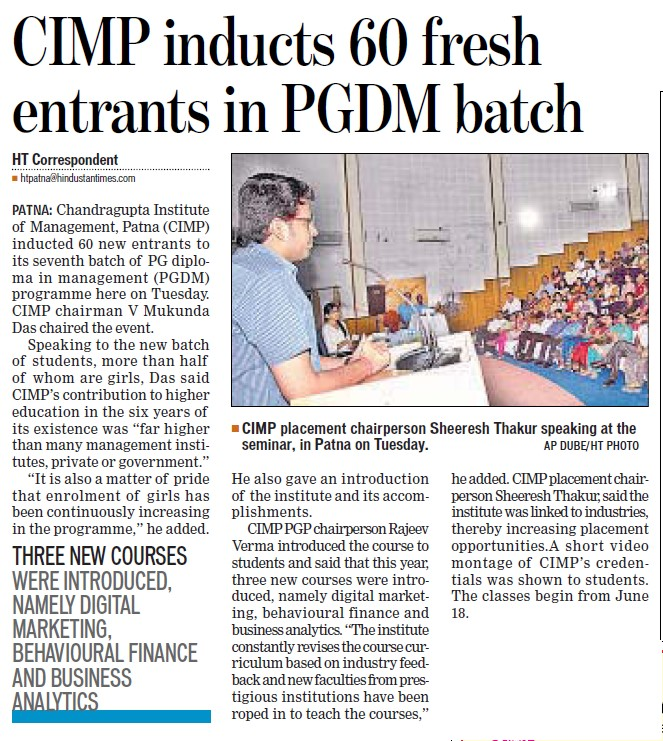 CIMP inducts 60 fresh entrants in PGDM batch (Chandragupt Institute of Management (CIM))