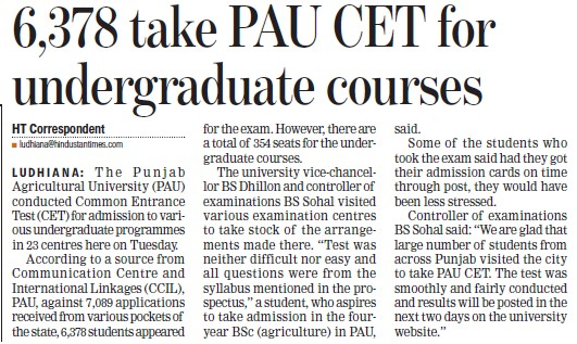 6378 take PAU CET for UG courses (Punjab Agricultural University PAU)