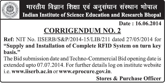 Supply of RFID system (Indian Institute of Science Education and Research (IISER))