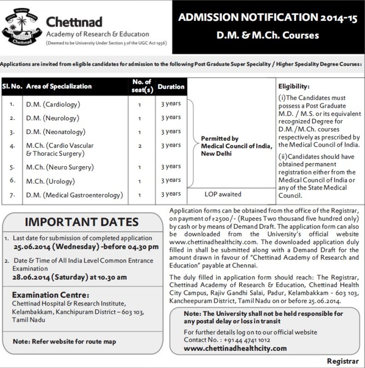 DM in Cardiology (Chettinad University)