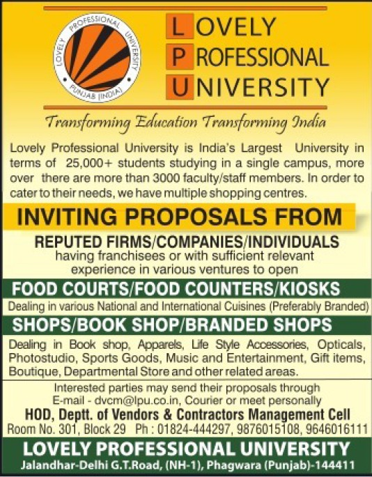 Opening of book shops (Lovely Professional University LPU)