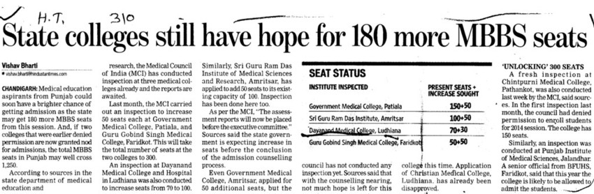 State colleges still have hope for 180 more MBBS seats (Dayanand Medical College and Hospital DMC)