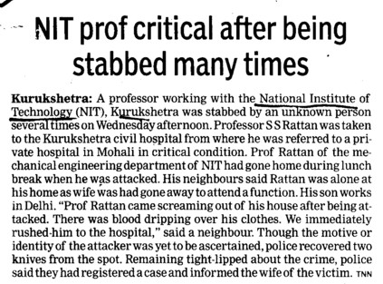 NIT prof critical after being stabbed many times (National Institute of Technology (NIT))
