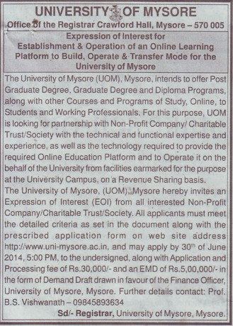 PG degree and Diploma programme (University of Mysore)