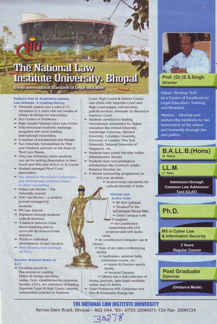 BA LLB and LLM Programme (National Law Institute University (NLIU))