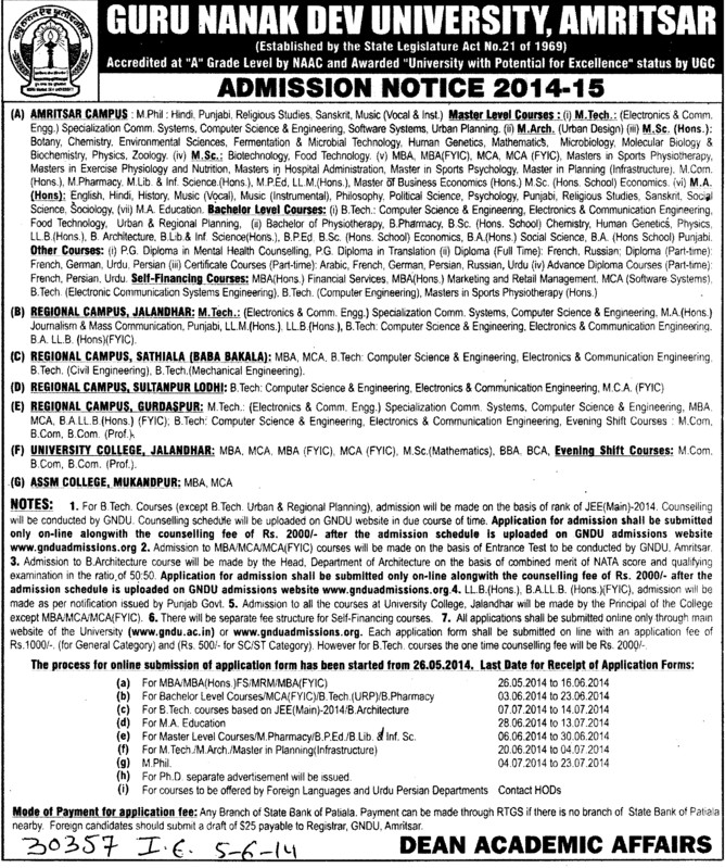 BSc in Home Science (Guru Nanak Dev University (GNDU))