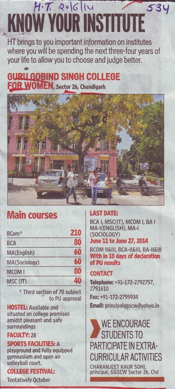 BCom and MCom (Guru Gobind Singh College for Women Sector 26)