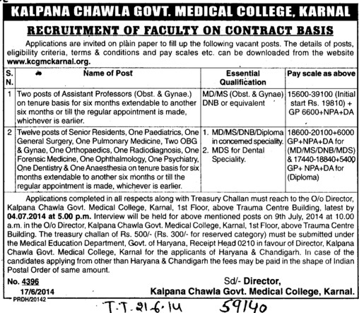 Asstt Professor for Obst. and Gynae (Kalpana Chawla Medical College)