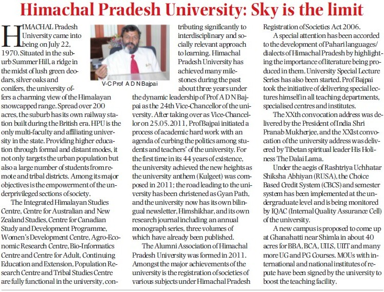 Message of VC ADN Bajpai (Himachal Pradesh University)