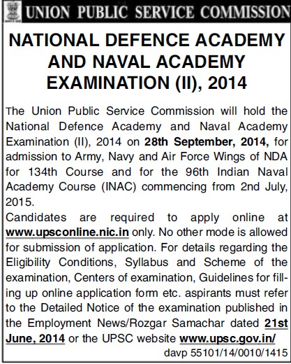 Naval Academy Examination 2014 (Union Public Service Commission (UPSC))