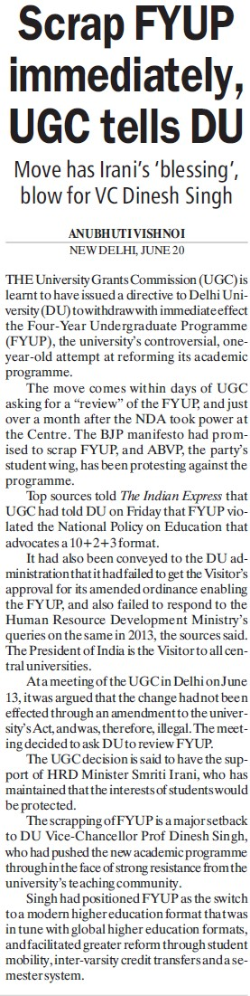 Scrap FYUP immediately, UGC tells DU (University Grants Commission (UGC))