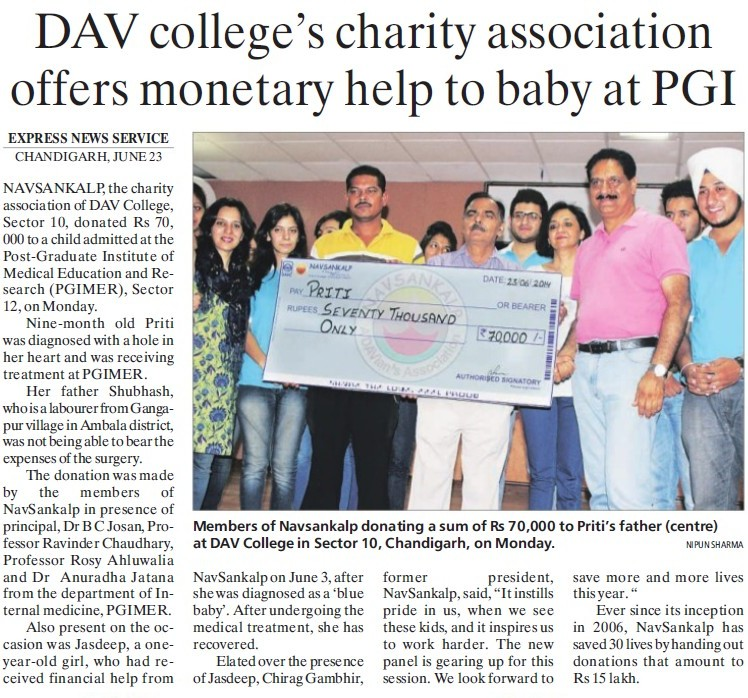DAV College charity association offers monetary help to baby at PGI (DAV College Sector 10)