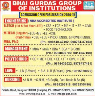 B Tech in Food Technology (Bhai Gurdas Group of Institutions)
