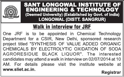 Junior Research Fellow (Sant Longowal Institute of Engineering and Technology SLIET)