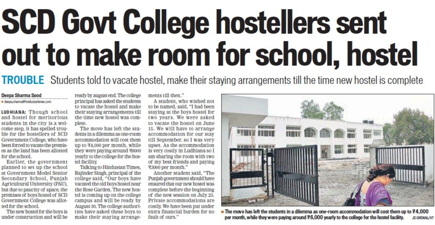 SCD hostellers sent out to make room for school, hostel (SCD Govt College)