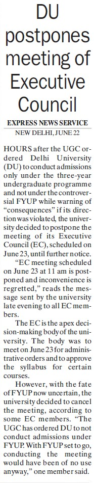 DU postpones meeting of Executive council (Delhi University)