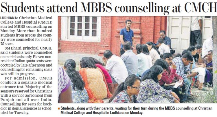 Students attend MBBS counselling (Christian Medical College and Hospital (CMC))