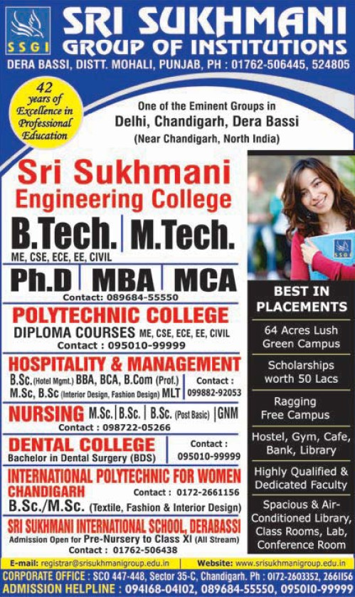 B Tech, M Tech and PhD Programmes (Sri Sukhmani Group of Institutes)