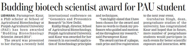 Budding biotech scientist award for PAU student (Punjab Agricultural University PAU)