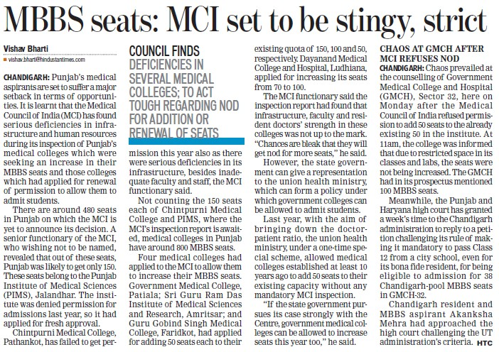 MBBS seats, MCI set to be stingy, strict (Medical Council of India (MCI))
