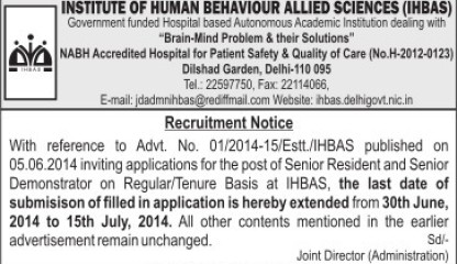 Senior Resident (Institute of Human Behaviour and Allied Sciences)