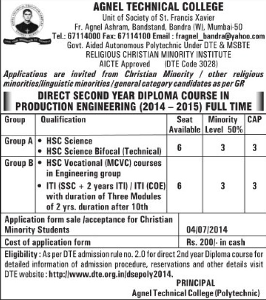 Diploma in Production Engineering (Father Agnel Technical College (Polytechnic) Bandra)