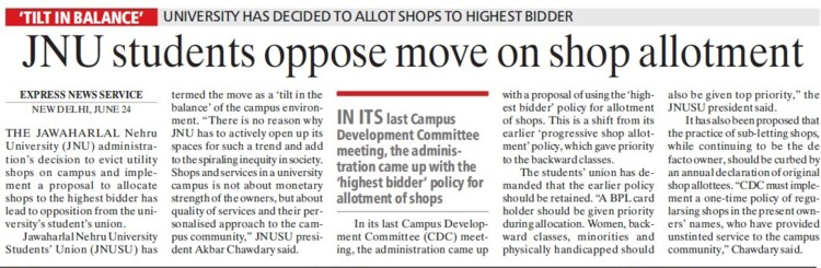 Students oppose move on shop allotment (Jawaharlal Nehru University)