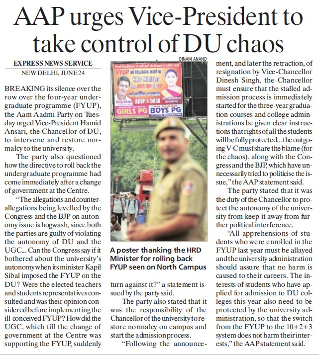 AAP urges VP to take control of DU chaos (Delhi University)