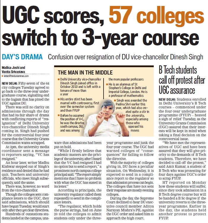 UGC scores, 57 colleges switch to 3 year course (University Grants Commission (UGC))