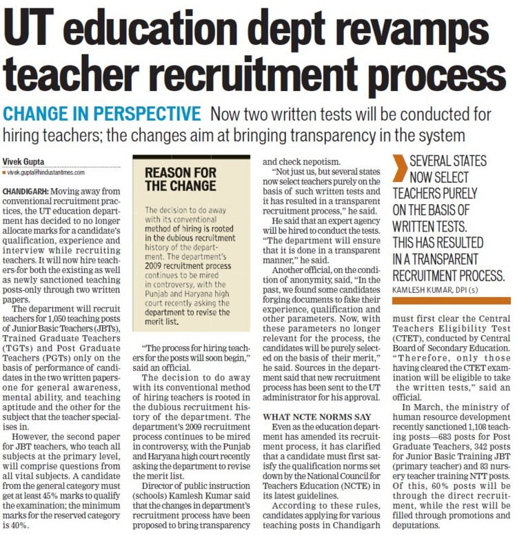 Edu. Dept revamps teacher recruitment process (Education Department Chandigarh Administration)