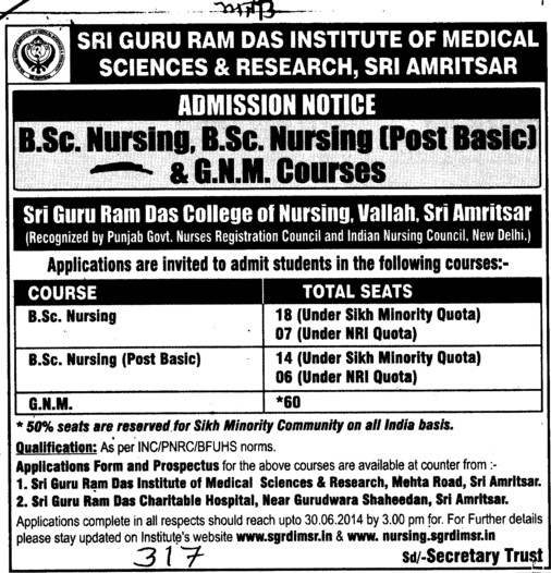 BSc in Nursing (Sri Guru Ram Das Institute of Medical Sciences and Research)